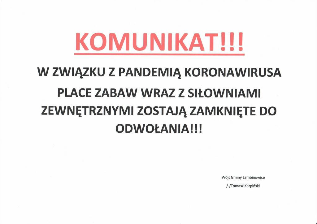 KOMUNIKAT - zamknięcie placów zabaw i siłowni na terenie Gminy Łambinowice.jpeg